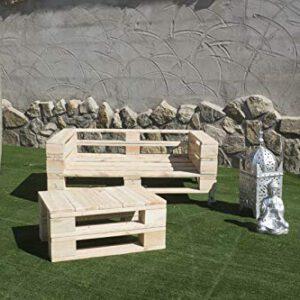 Conjunto Sofa PALETS Europeos con Ruedas + Mesa.Interior/Exterior NUEVOS A ESTRENAR AL Natural