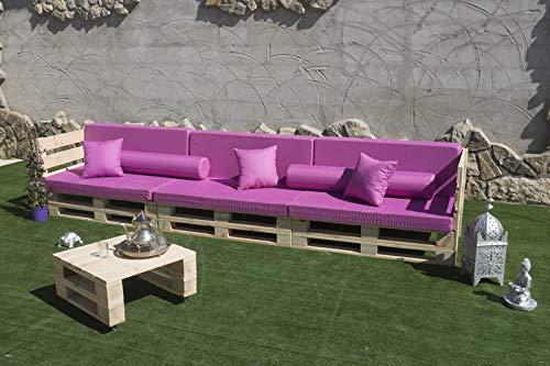 Conjunto Sofa PALETS Europeo 3,6m + Mesa, Interior/Exterior Nuevo A ESTRENAR AL Natural