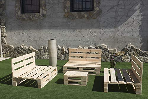 Conjunto 3 Sofas PALETS Europeo + Mesa, Interior/Exterior Nuevo A ESTRENAR,AL Natural