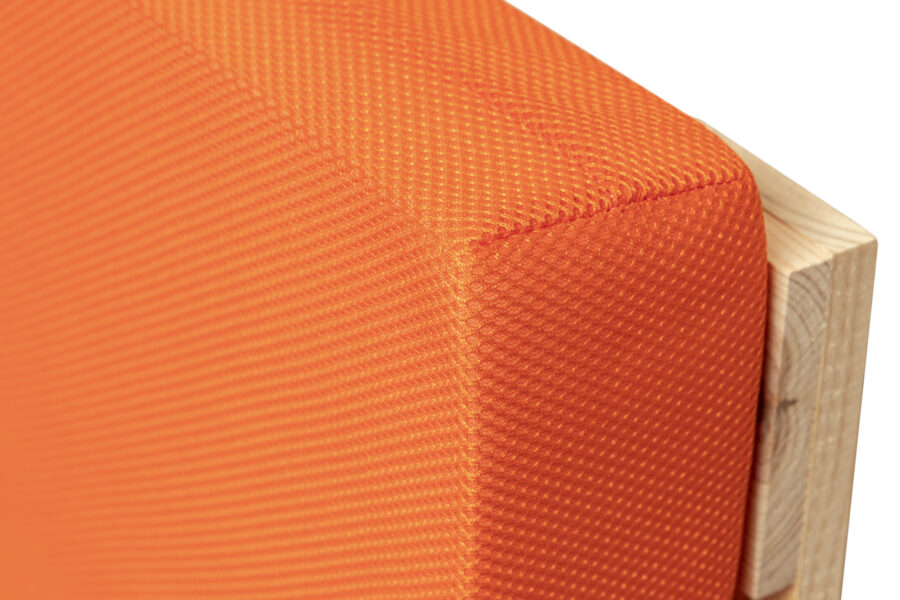 cojines palets naranja muestra detalle